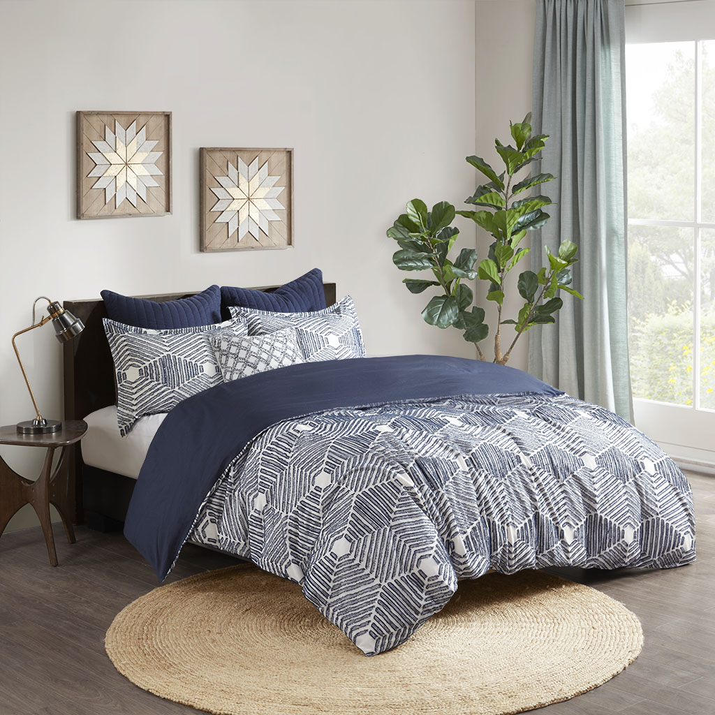 INK+IVY King/Cal King 100% Cotton Clipped Jacquard Duvet Cover Set in Navy - Olliix II12-1072