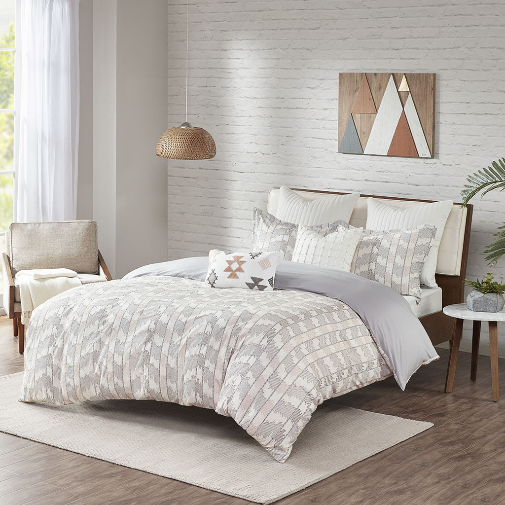 INK+IVY Full/Queen Cotton Jacquard Duvet Cover Set in Gray/Blush - Olliix II12-1075