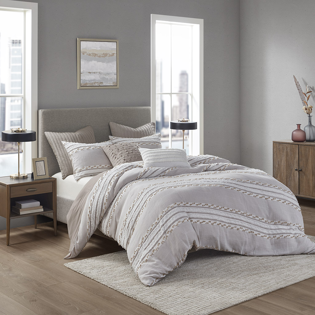 INK+IVY Full/Queen Organic Cotton Jacquard Duvet Cover Set in Taupe - Olliix II12-1083