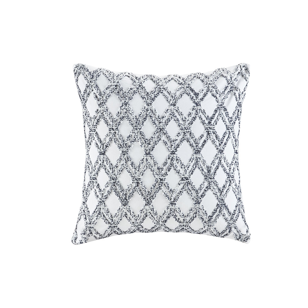 INK+IVY 100% Cotton Embroidered Square Pillow in Navy - Olliix II30-1078