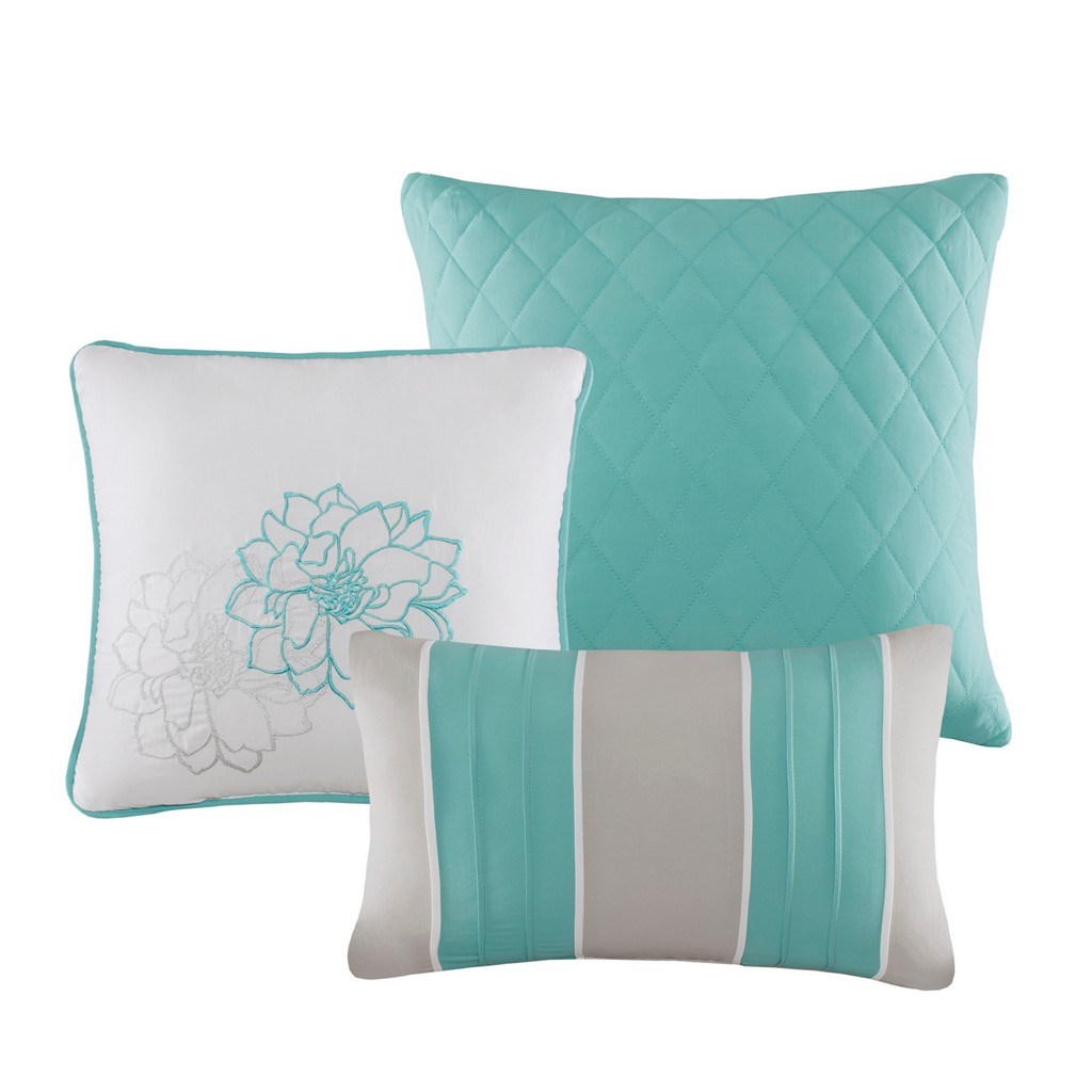 100% Cotton Sateen Printed 6 Piece Comforter Set - Olliix MP10-6833