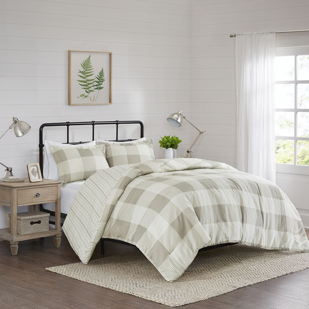 Reversible | Buffalo | Duvet | Taupe | Check | Piece | Cover | Plaid | Park | King | Set