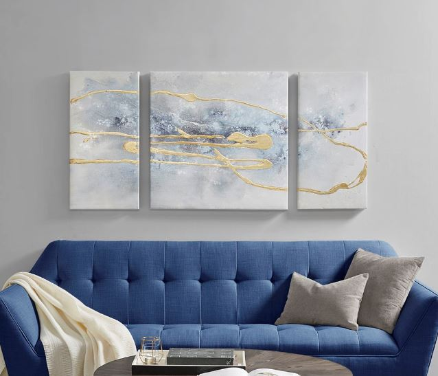 Blue Cosmo 3 Piece Canvas Set Hand Embellished Textured Glitter & Gold Foil - Madison Park MP95C-0192