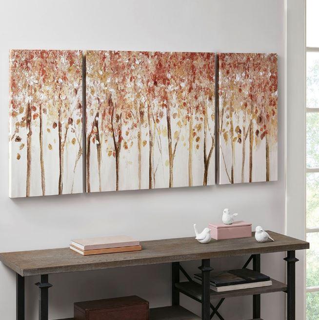 Autumn Forest Printed Canvas w/ 50% Knife Pallet Embellishment 3 Piece Set - Madison Park MP95C-0207