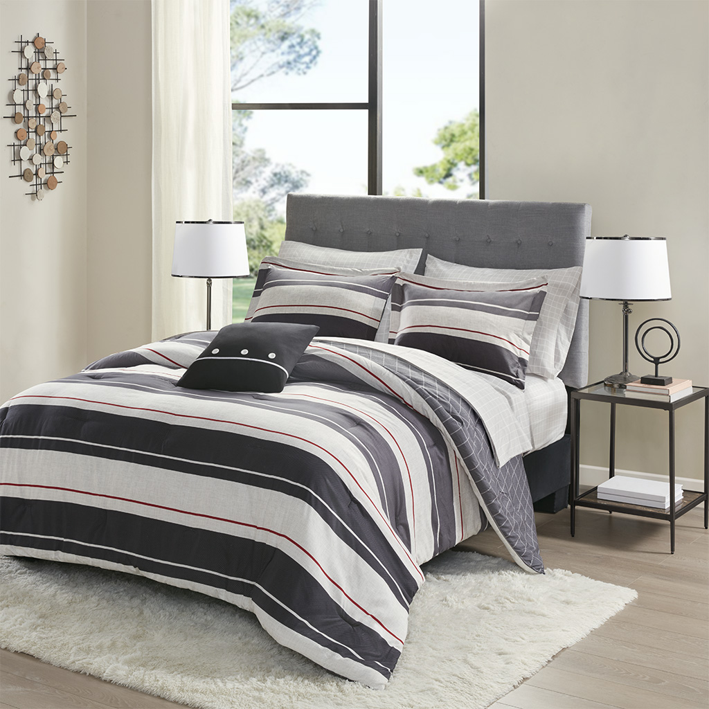 Madison Park Essentials Cal King 100% Polyester 8 Piece Comforter Set in Gray/Charcoal - Olliix MPE10-853