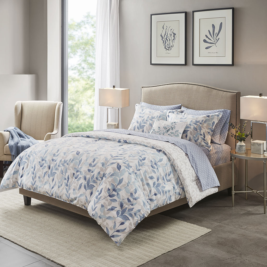 Madison Park Essentials Cal King 100% Polyester 8 Piece Comforter Set in Blue - Olliix MPE10-882
