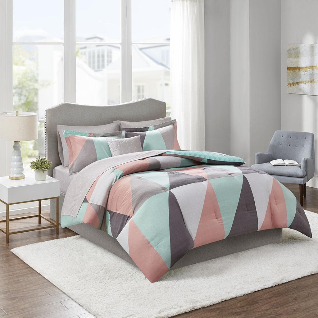 Madison Park Essentials Full 100% Polyester 8 Piece Comforter Set in Aqua - Olliix MPE10-885