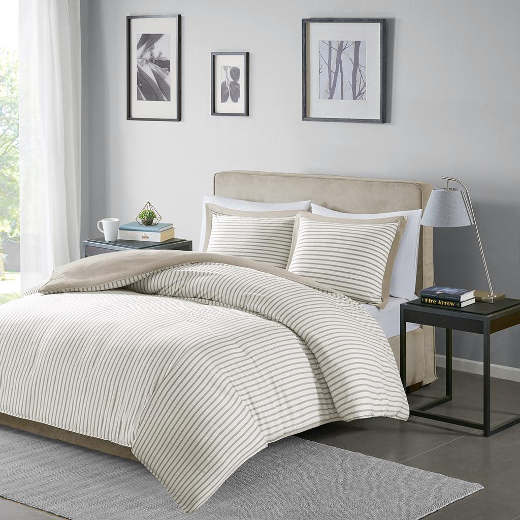 Madison Park Essentials Full/Queen 100% Polyester Stripe Chambray Microfiber Duvet Set in Tan - Olliix MPE12-831