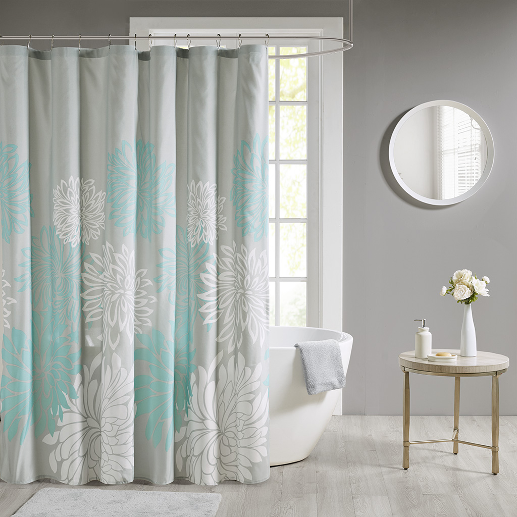 Madison Park Essentials 72x72 100% Polyester Print Floral Shower Curtain in Aqua - Olliix MPE70-815
