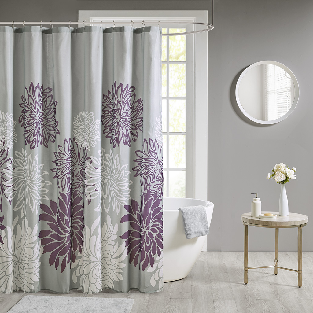 Madison Park Essentials 72x72 100% Polyester Print Floral Shower Curtain in Purple - Olliix MPE70-816