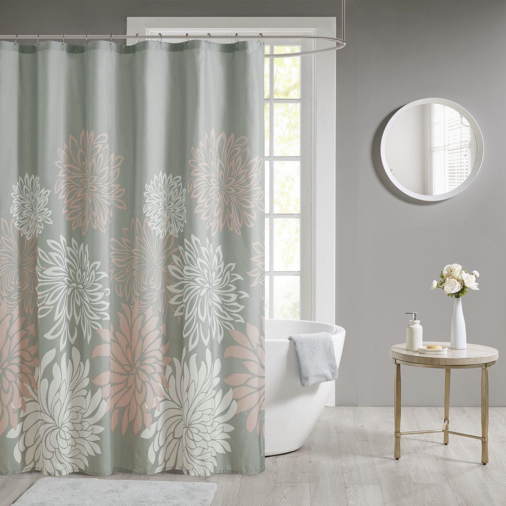 "Madison Park Essentials 72x72"" Printed Floral Shower Curtain in Blush - Olliix MPE70-864"