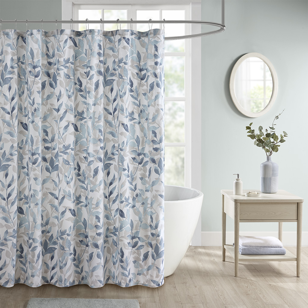 "Madison Park Essentials 72x72"" Botanical Printed Shower Curtain in Blue - Olliix MPE70-872"