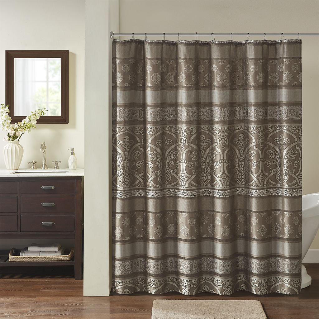 "Madison Park Essentials 72x72"" Jacquard Shower Curtain in Brown - Olliix MPE70-883"