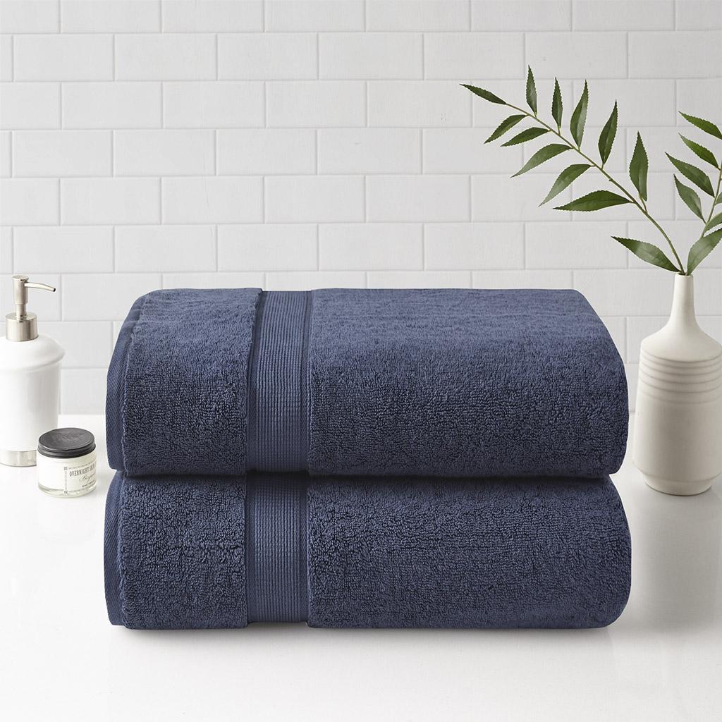 "Madison Park Signature 34x68"" 100% Cotton Bath Sheet 2 Piece Set in Dark Blue - Olliix MPS73-460"