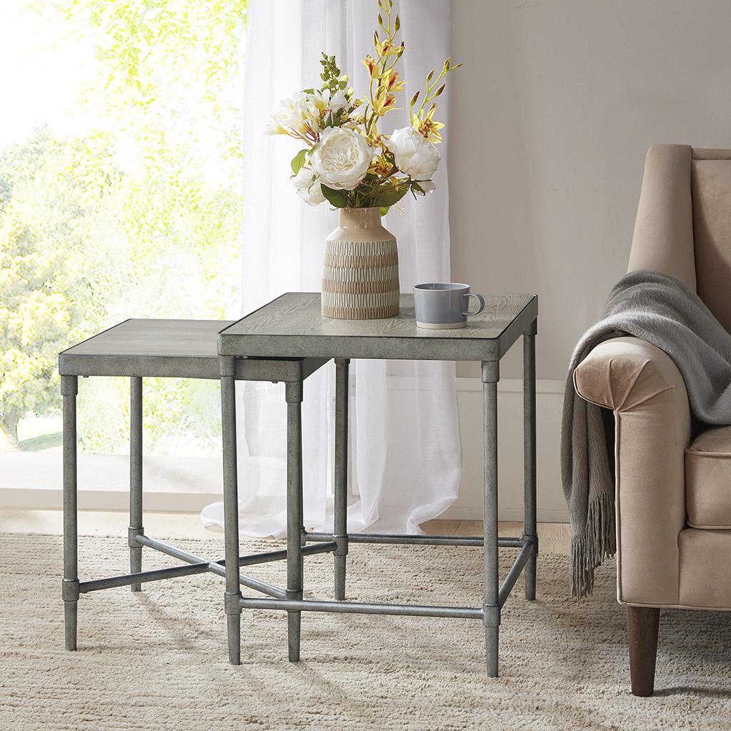 Martha Stewart Accent Nesting Table in Antique Silver - Olliix MT125-0104