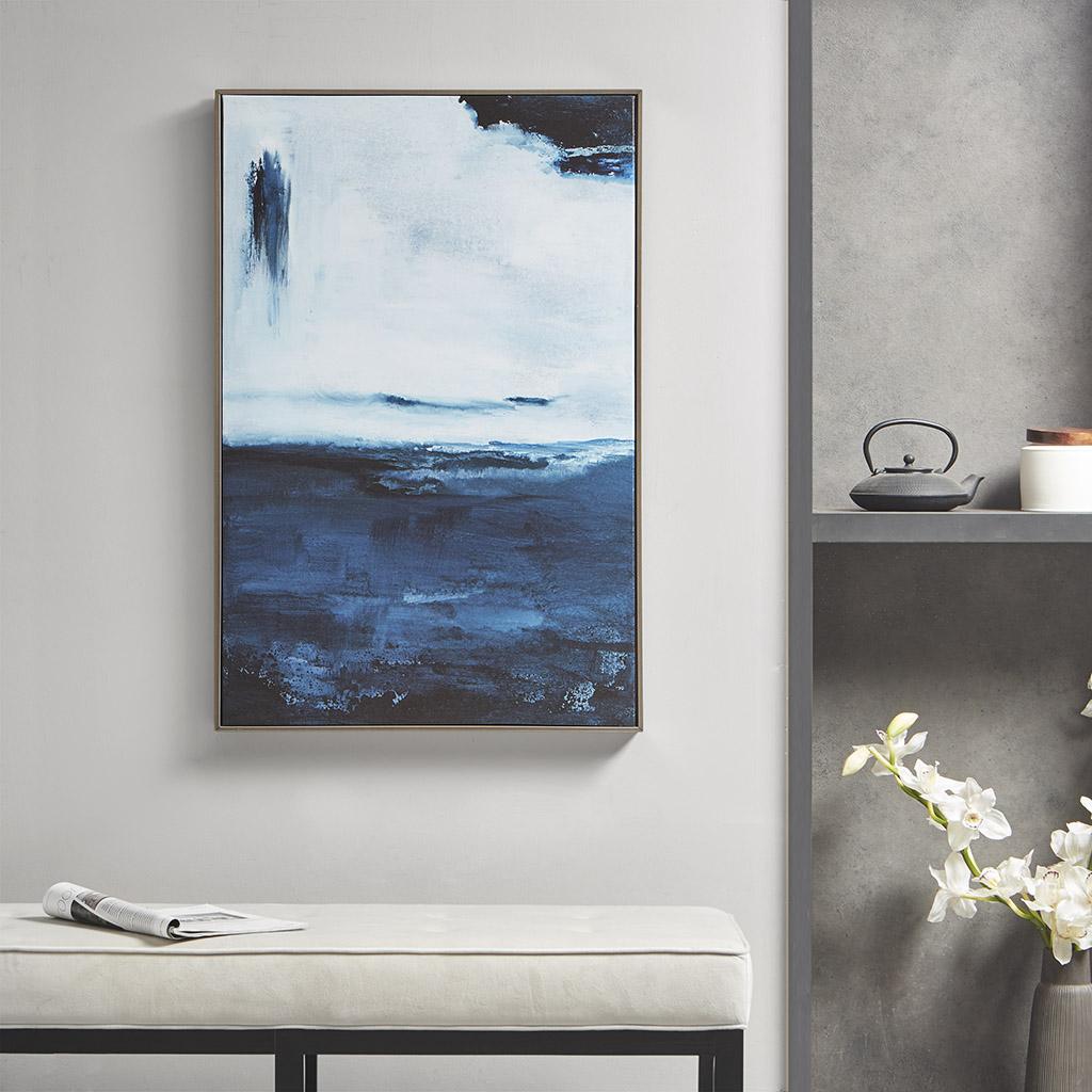 """Martha Stewart 24X36"""" Framed Canvas - Squall in Blue - Olliix MT95C-0020"""