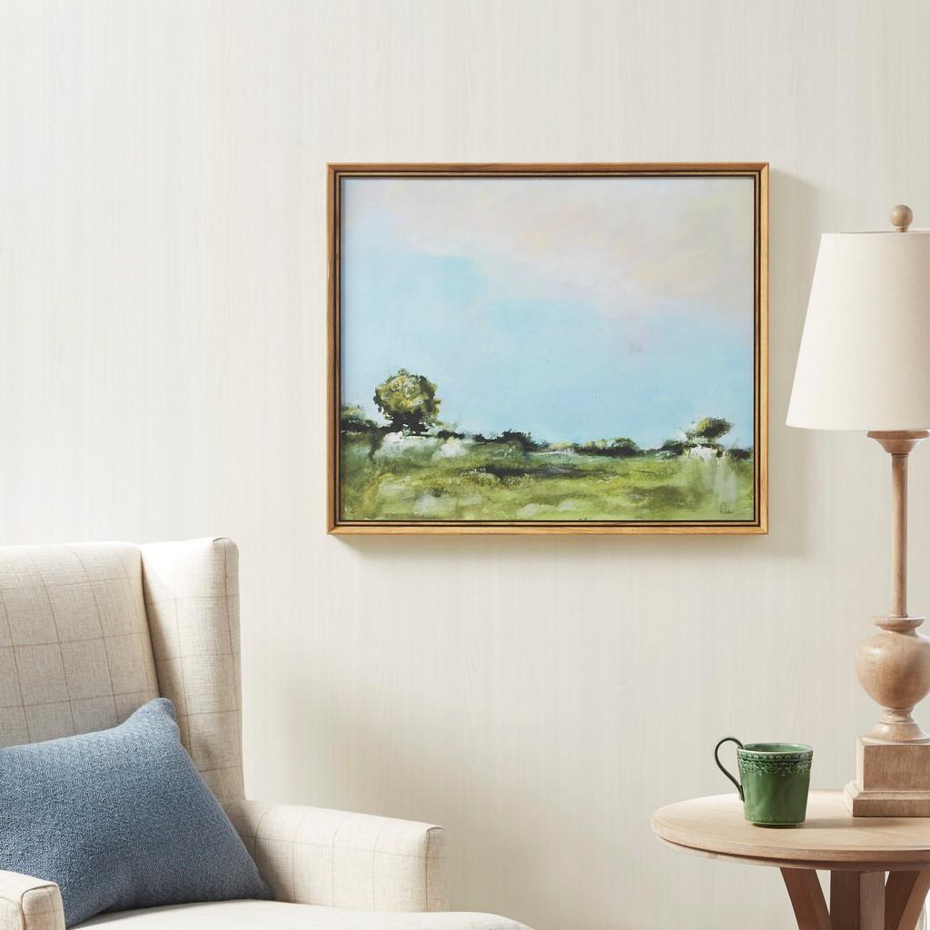 24X20 Framed Canvas 100% Gel Brush Stroke - Across The Plains 2 - Olliix MT95C-0023