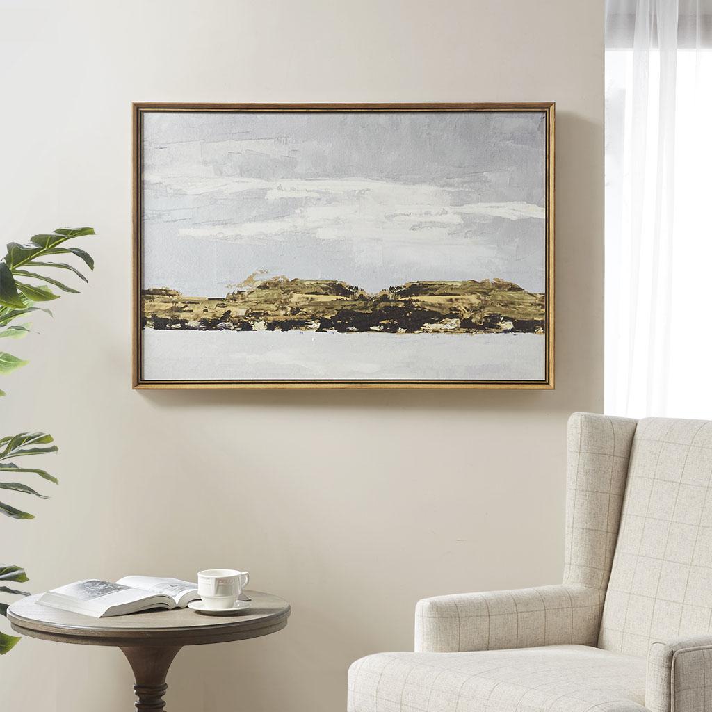 Martha Stewart 36X24 Framed Canvas Rolled Gel - Foggy Morning in Multi - Olliix MT95C-0025
