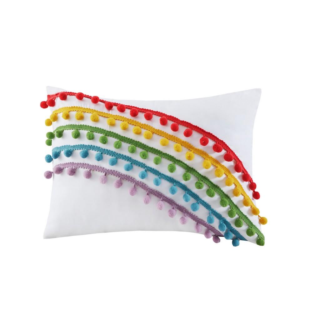 100% Polyester Coverlet Set w/ Pompom Trim - Olliix MZ13-0623