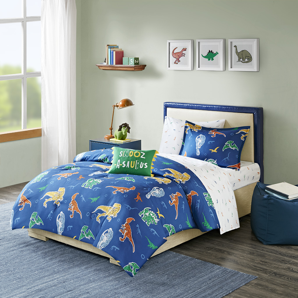 Mi Zone Kids Twin Complete Bed & Sheet Set in Blue - Olliix MZK10-178