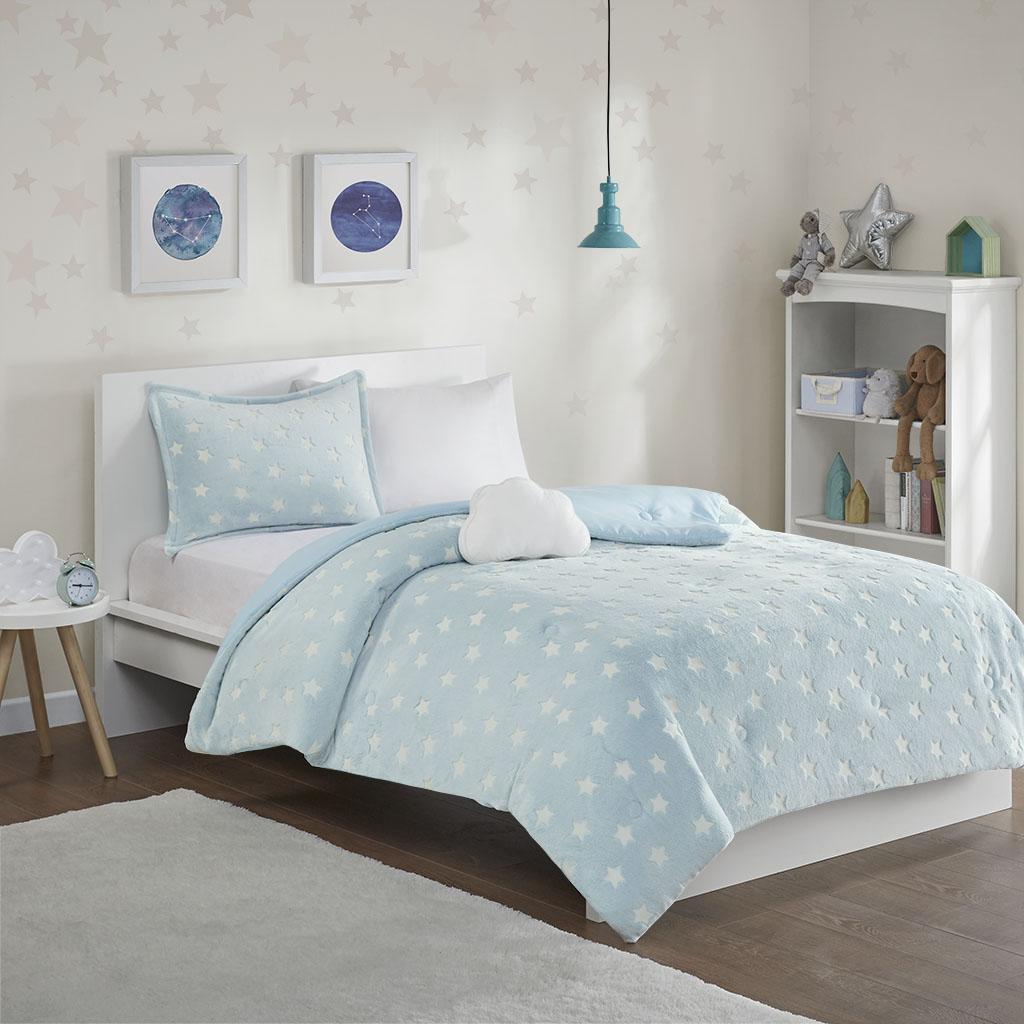 Mi Zone Kids Twin 100% Polyester Printed Comforter Set W/ Luminescent Knocked in Aqua - Olliix MZK10-201