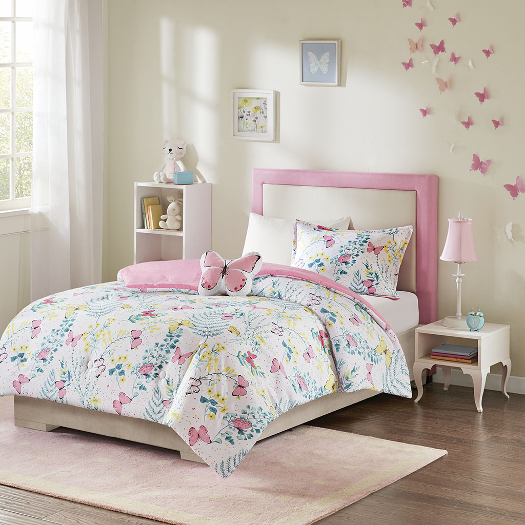 Mi Zone Kids Twin Printed Butterfly Comforter Set in Pink - Olliix MZK10-208