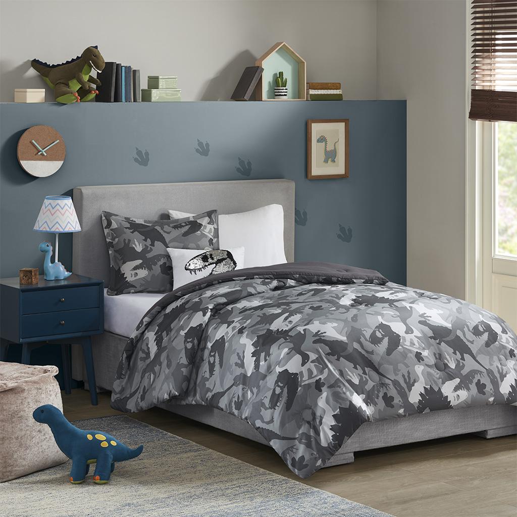 Mi Zone Kids Full/Queen Printed Dino Camo Comforter Set in Grey - Olliix MZK10-211