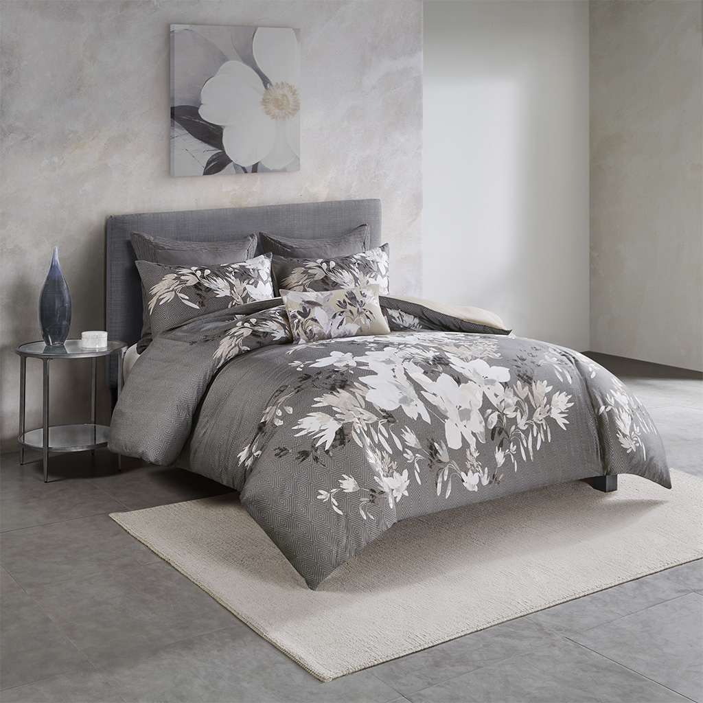 N Natori King/Cal King 3 Piece Cotton Comforter Set in Neutral - Olliix NS10-3413