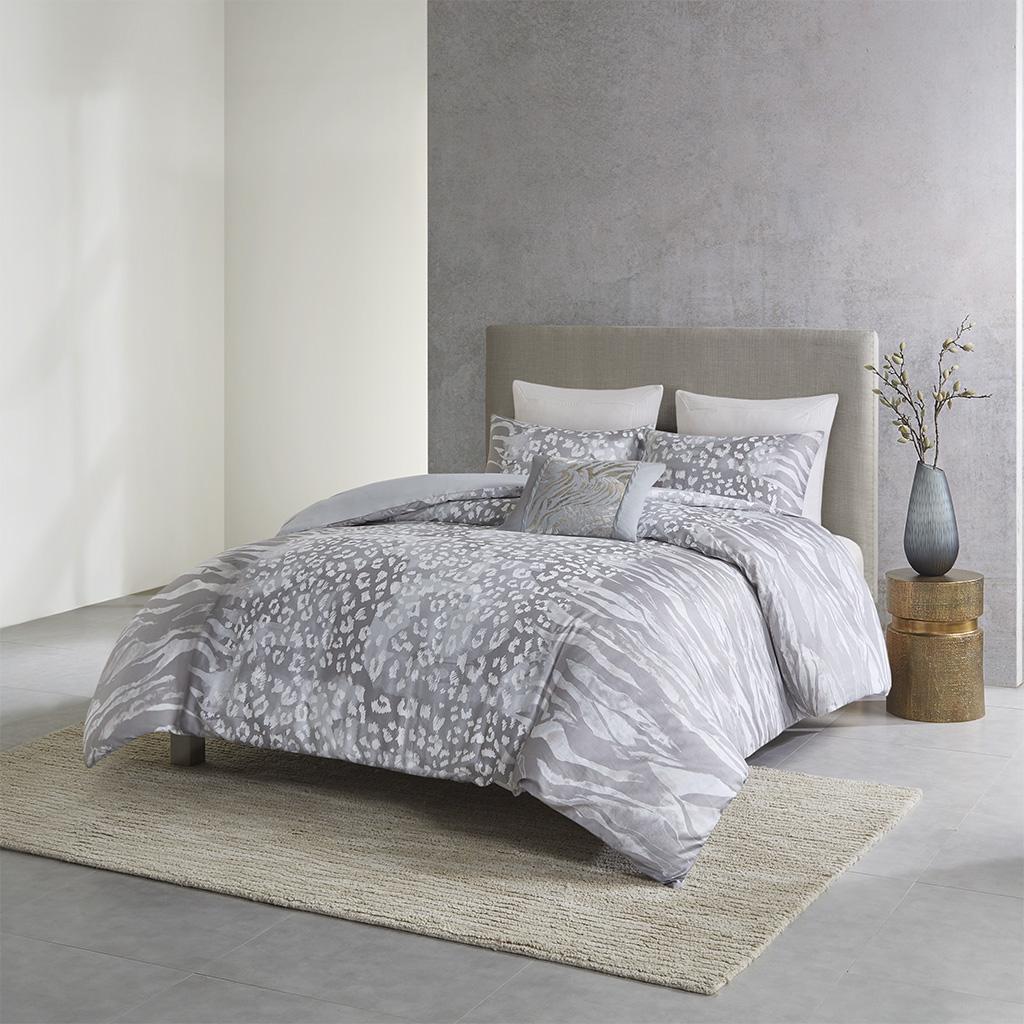 N Natori King/Cal King 3 Piece Cotton Duvet Set in Multi - Olliix NS12-3420