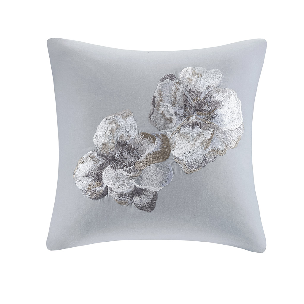 "N Natori 18x18"" Embroidered Cotton Square Decorative Pillow in Grey - Olliix NS30-3338"