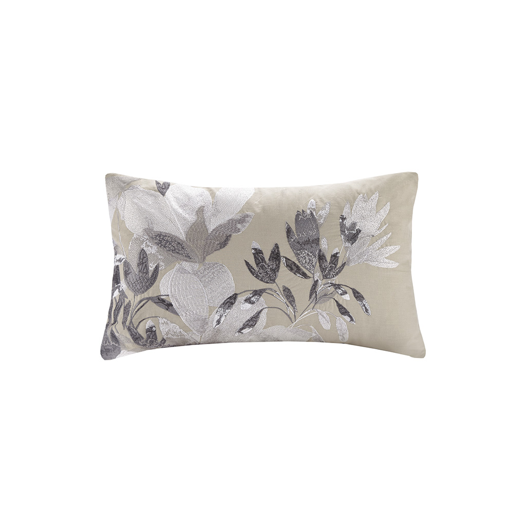 "N Natori 12x20"" Embroidered Cotton Oblong Decorative Pillow in Neutral - Olliix NS30-3416"