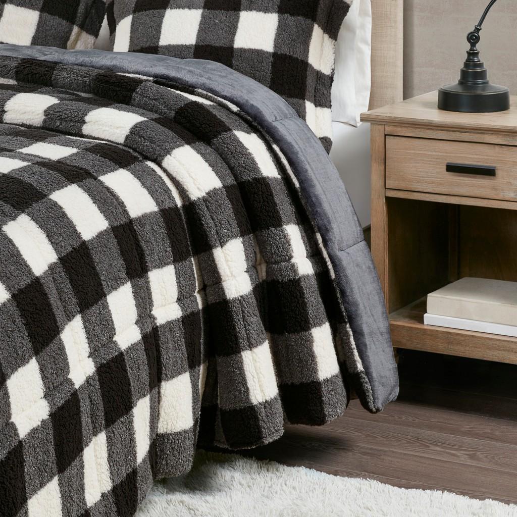 100% Polyester Buffalo Check Print Sherpa Comforter Set - Olliix TN10-0435
