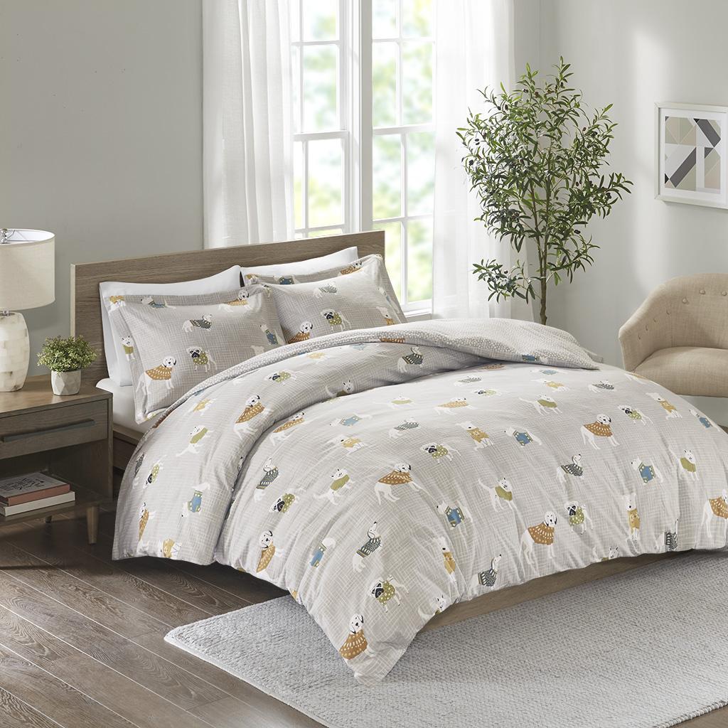 True North By Sleep Philosophy Twin/Twin XL 100% Cotton Flannel Printed Duvet Set in Grey Dogs - Olliix TN12-0432