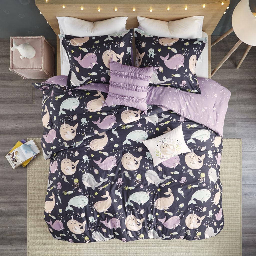 Urban Habitat Kids Full/Queen 100% Cotton Printed 5Pcs Reversible Comforter Set in Purple Multi - Olliix UHK10-0107