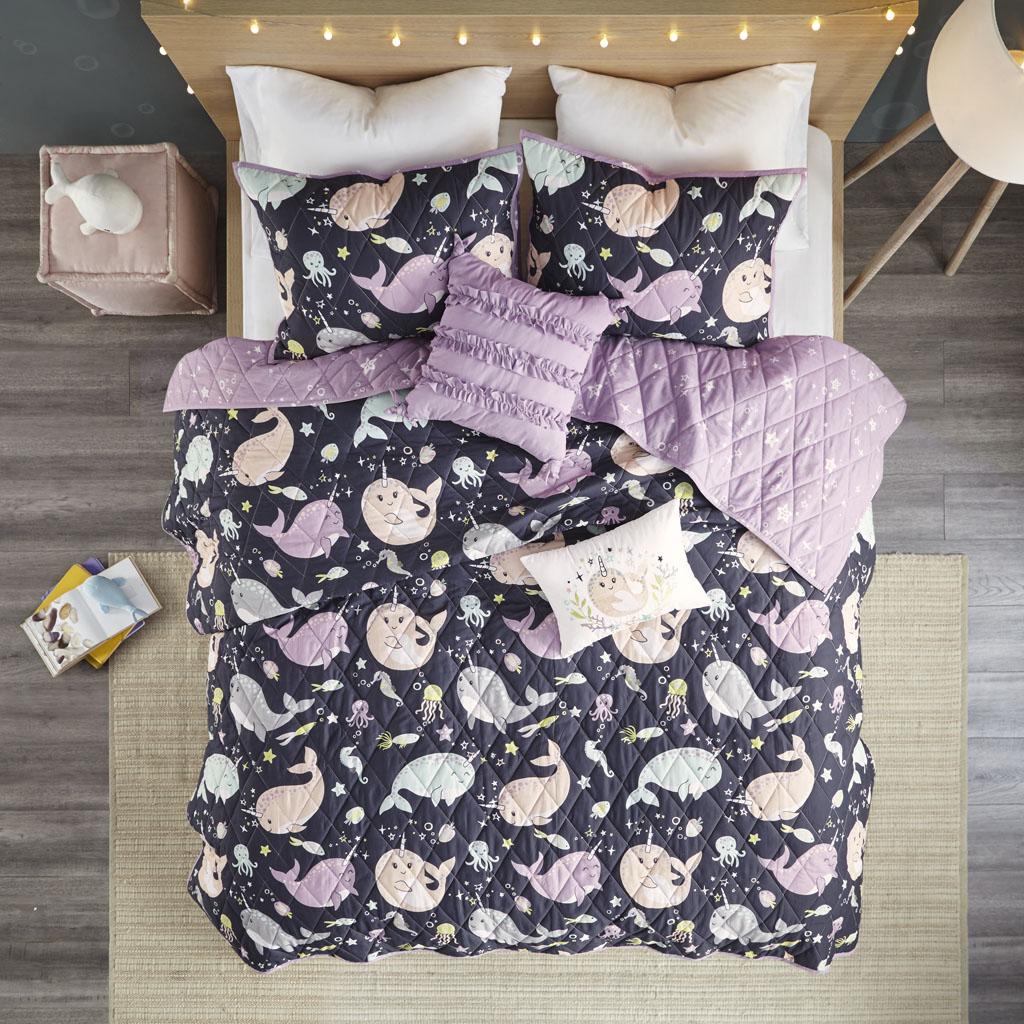 Urban Habitat Kids Full/Queen 100% Cotton Printed 5Pcs Reversible Coverlet Set in Purple Multi - Olliix UHK13-0109