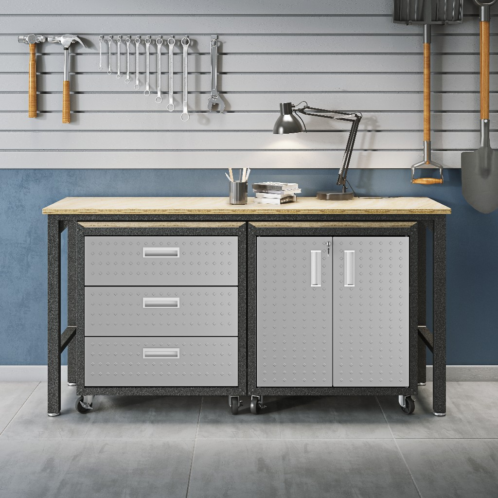 3-Piece Fortress Mobile Space-Saving Garage Cabinet and Worktable 3.0 in Grey - Manhattan Comfort 16GMC