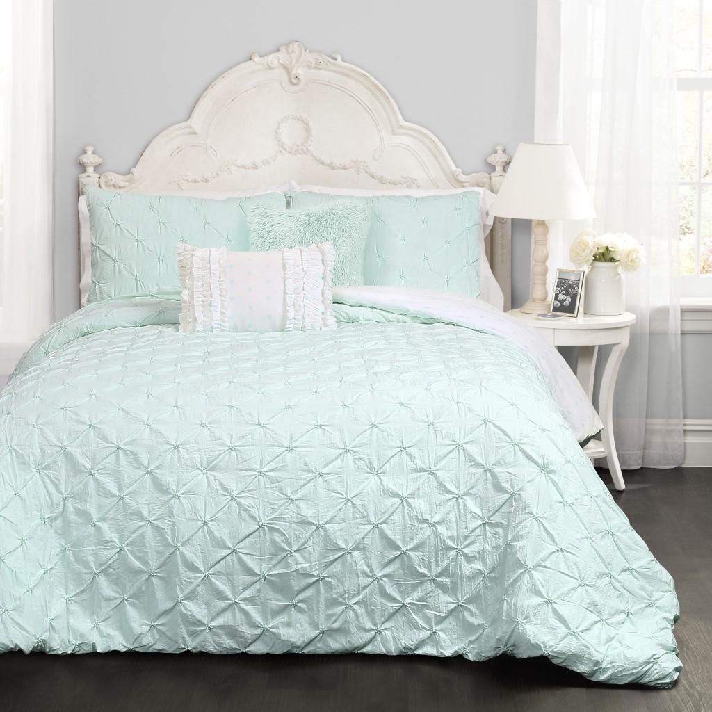 Ravello Pintuck Comforter Light Aqua 4Pc Set Twin - Lush Decor 16T002153