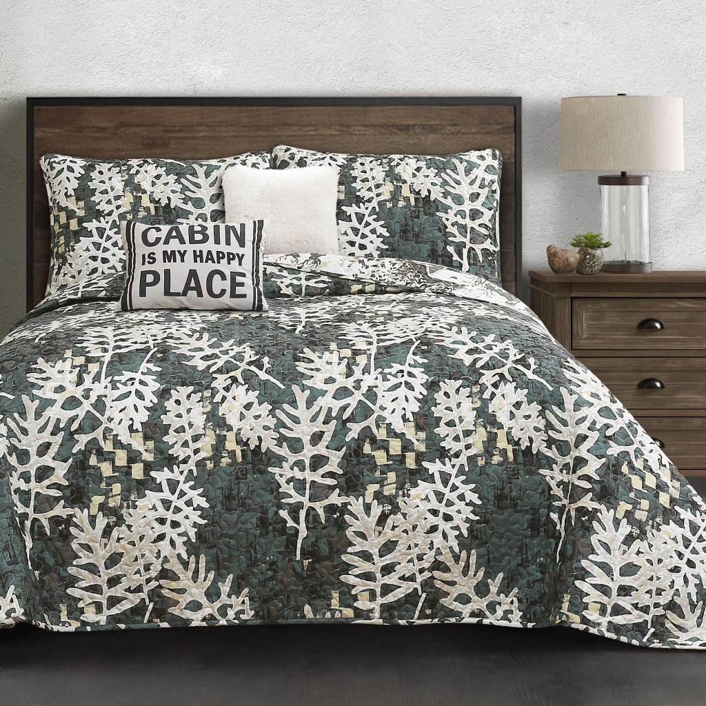 Camouflage Leaves Quilt Green 5Pc Set Full/ Queen - Lush Decor 16T002788