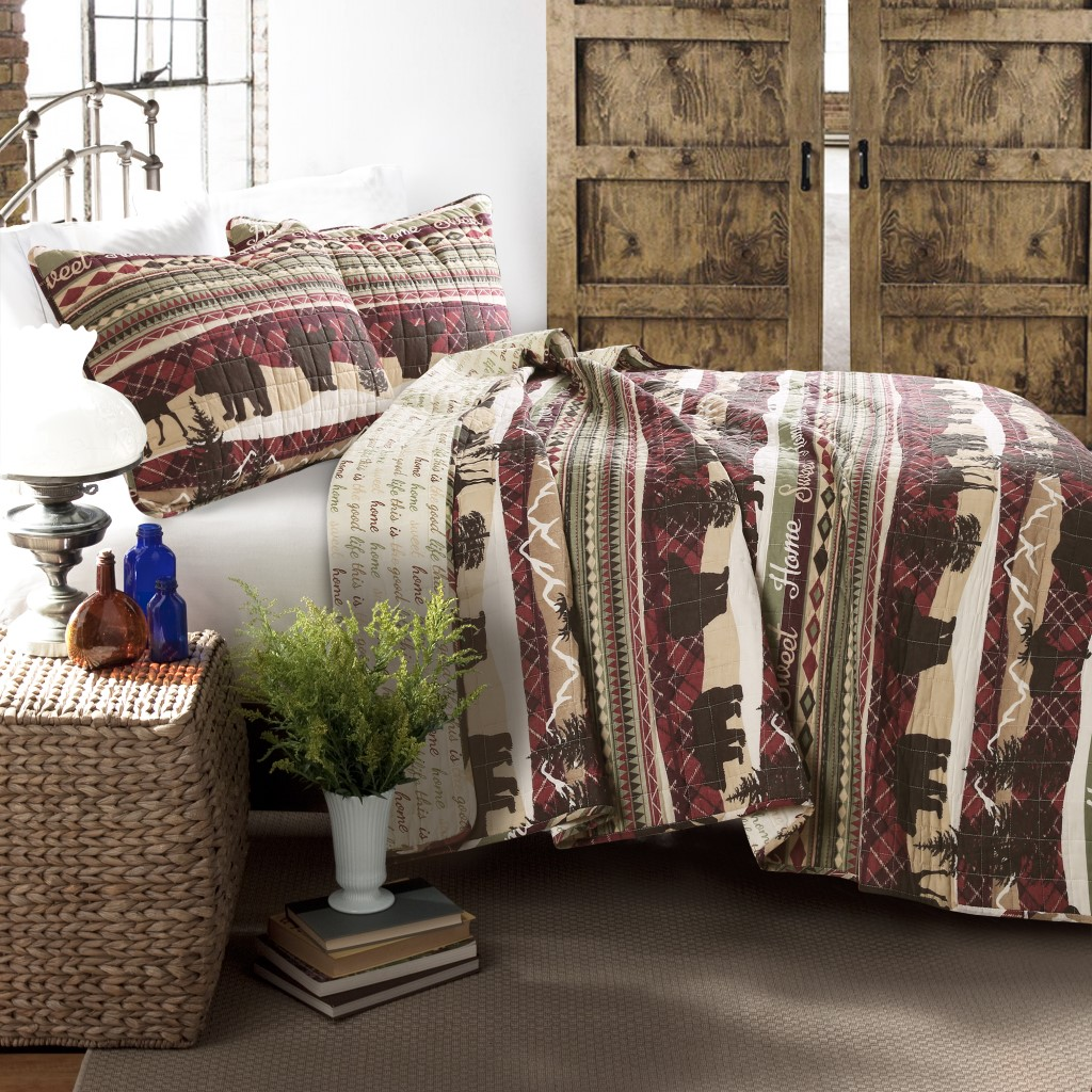 Holiday Lodge Quilt Red/Brown 3Pc Set Full/ Queen - Lush Decor 16T003156