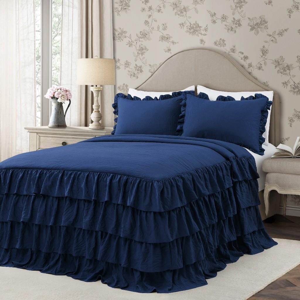 Allison Ruffle Skirt Bedspread Navy 3Pc Set Queen - Lush Decor 16T004381