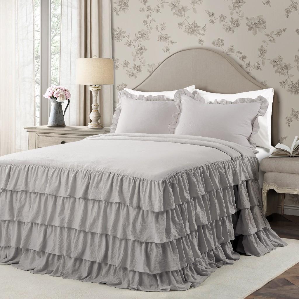 Allison Ruffle Skirt Bedspread Light Gray 3Pc Set Full - Lush Decor 16T004384