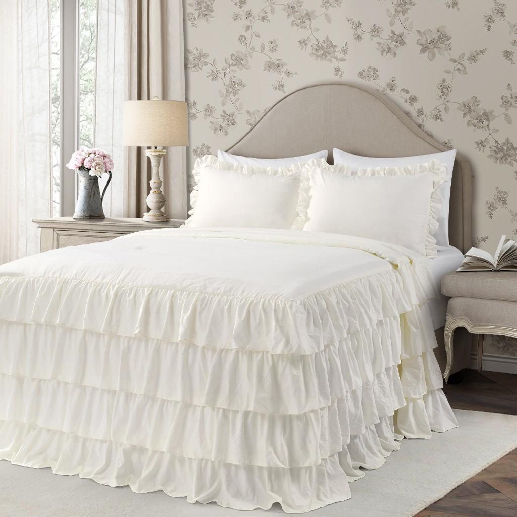 Allison Ruffle Skirt Bedspread Ivory 3Pc Set Queen - Lush Decor 16T004387