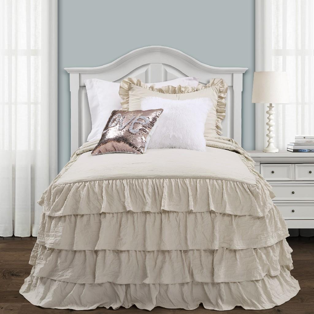 Allison Ruffle Skirt Bedspread Neutral 2Pc Set Twin Xl - Lush Decor 16T004389