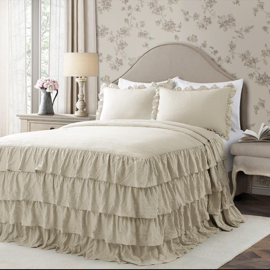 Allison Ruffle Skirt Bedspread Neutral 3Pc Set Queen - Lush Decor 16T004391