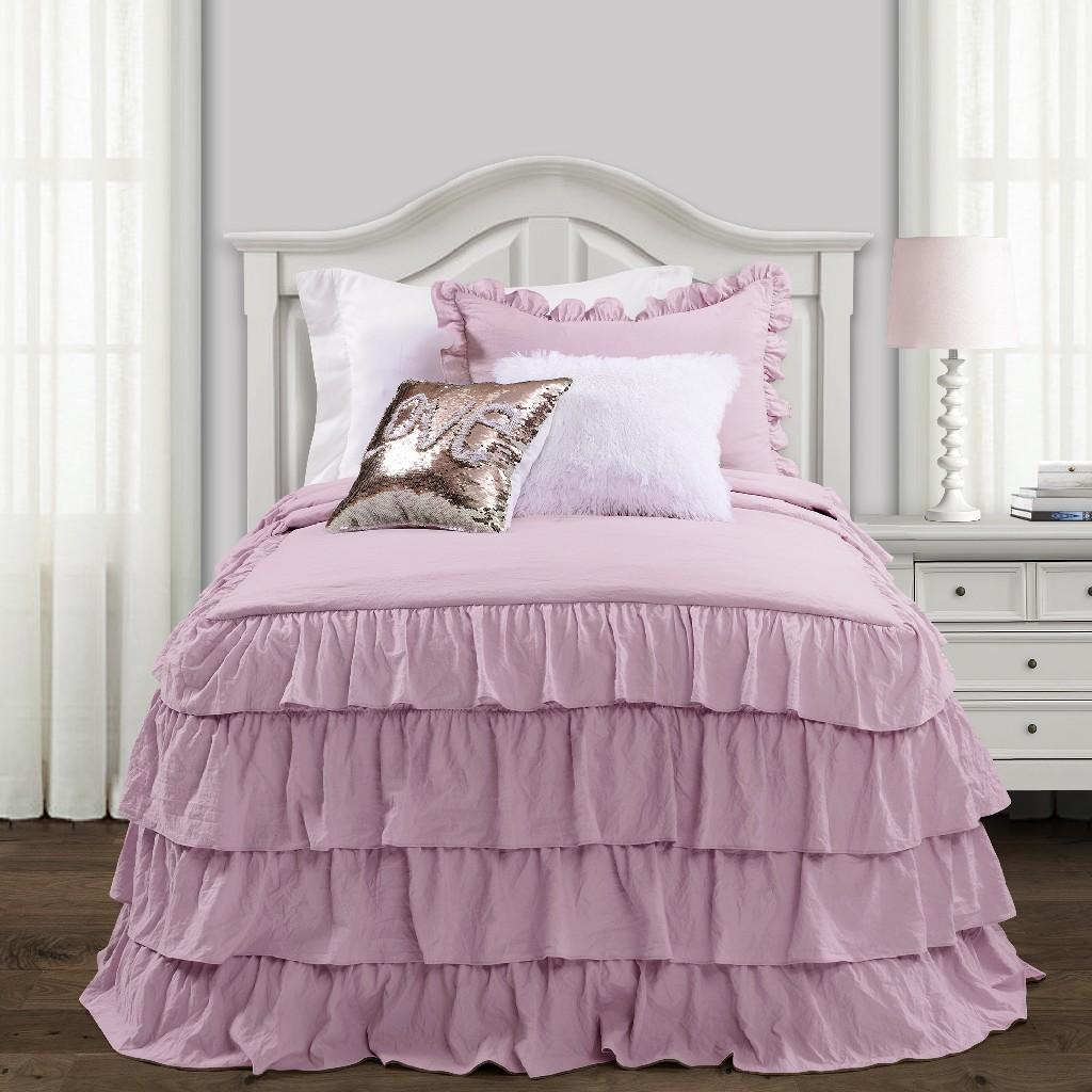 Allison Ruffle Skirt Bedspread Purple 2Pc Set Twin Xl - Lush Decor 16T004393
