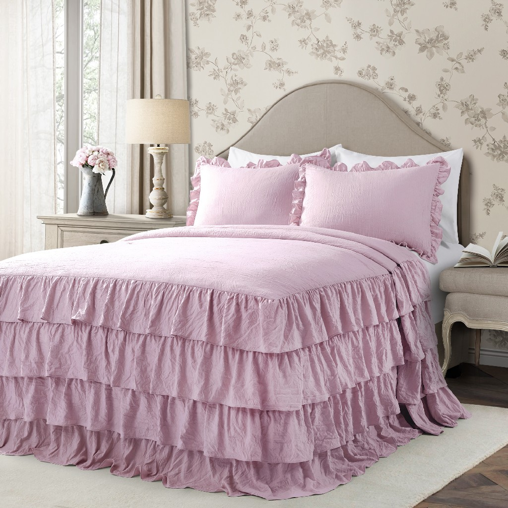 Allison Ruffle Skirt Bedspread Purple 3Pc Set Queen - Lush Decor 16T004395