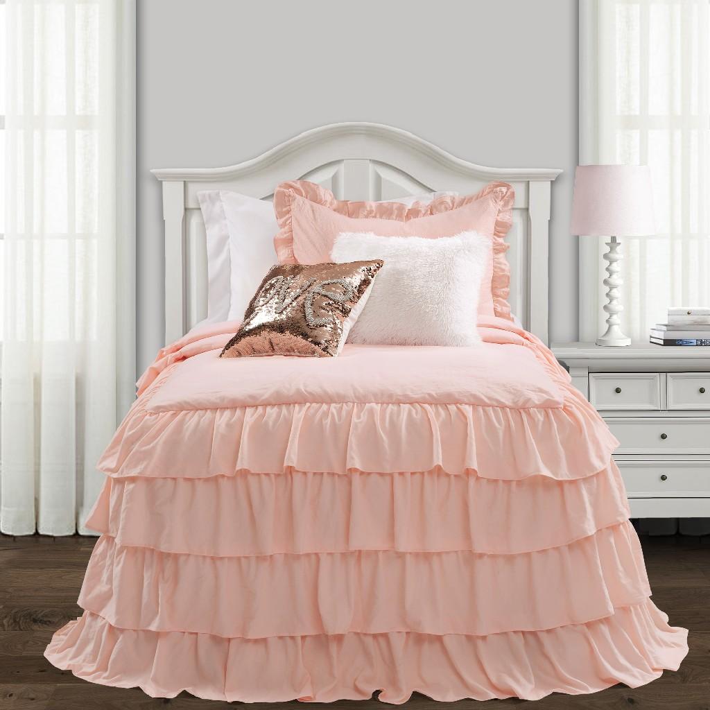 Allison Ruffle Skirt Bedspread Blush 2Pc Set Twin Xl - Lush Decor 16T004396