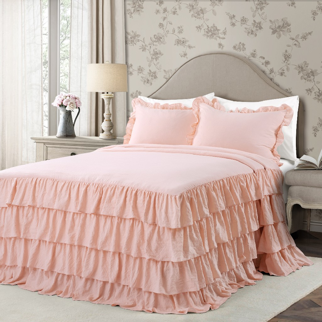 Allison Ruffle Skirt Bedspread Blush 3Pc Set King - Lush Decor 16T004399