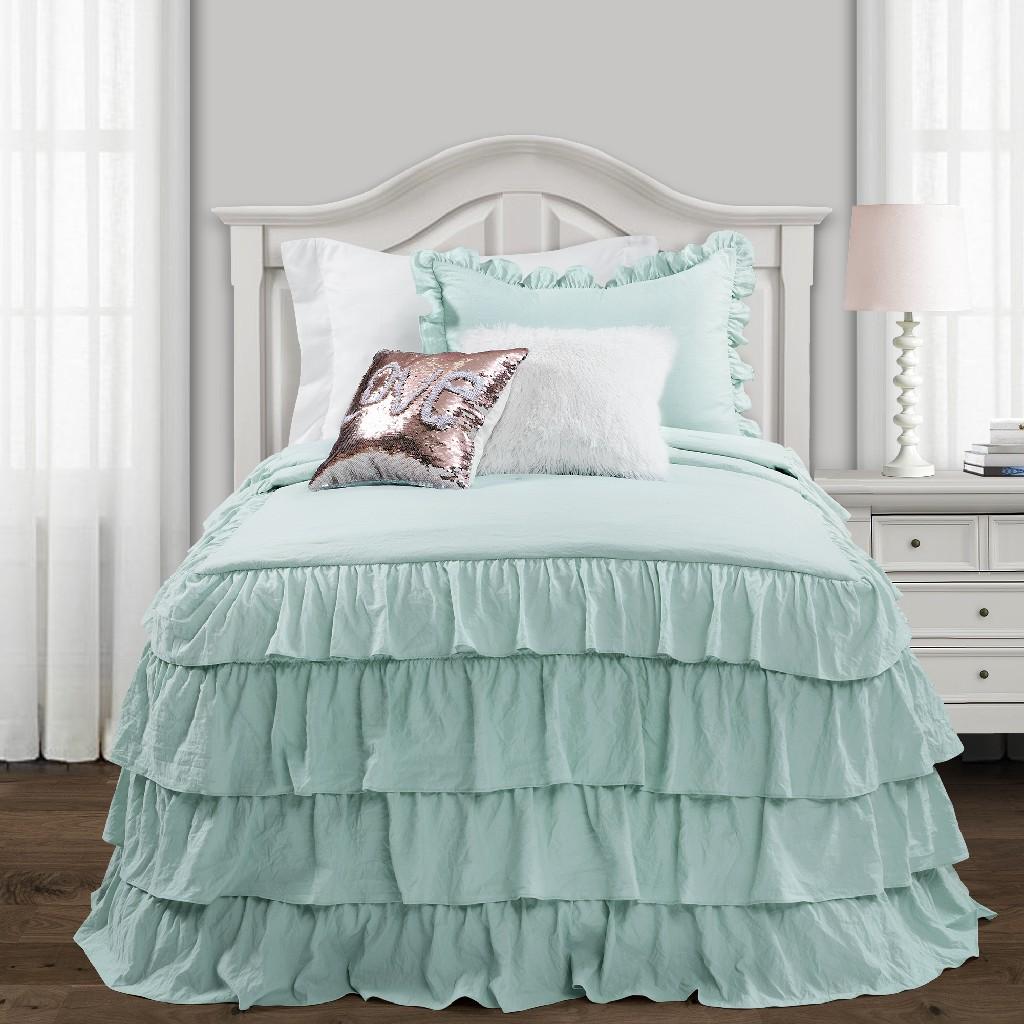 Allison Ruffle Skirt Bedspread Aqua 2Pc Set Twin Xl - Lush Decor 16T004400