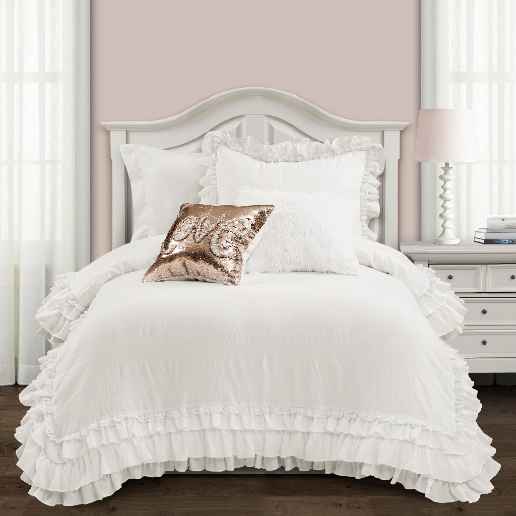 Ella Shabby Chic Ruffle Lace Comforter White 2Pc Set Twin Xl - Lush Decor 16T004403